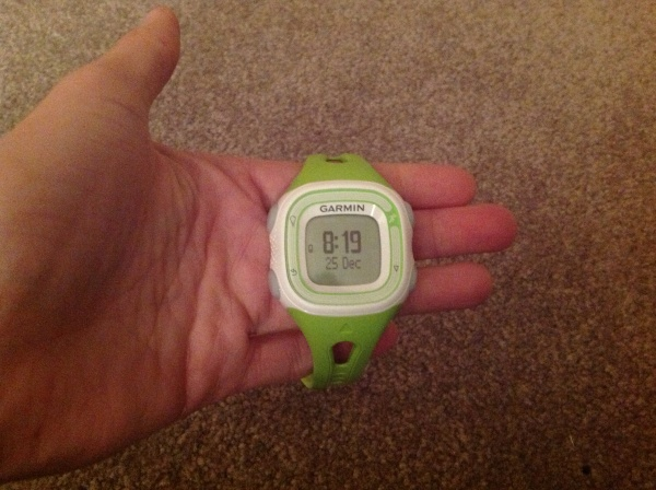 Garmin Forerunner 10 measures distance, time, pace and calories. Psyched!
