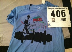 The race shirt is decent. Last year it was LIME FREAKING GREEN, like a highlighter... hideous. And my race number is even, a relief because odd numbers make me uncomfortable.