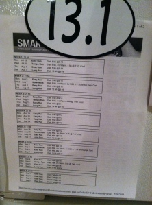 The training schedule on display on the fridge.