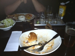 Dinner at Yardhouse - probably would have been a much prettier shot if I had taken it BEFORE we ate everything