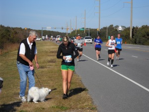 Juneau cheering me on at the Outer Banks Marathon.