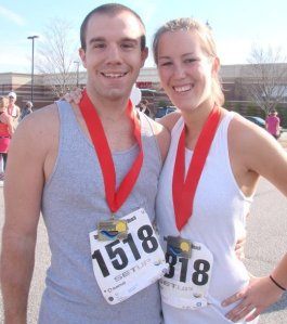 Jeremy and I after the Wrightsville Beach Half in 2010 - first 13.1 for both of us!