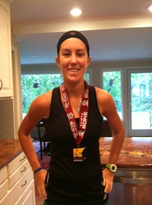 I never remember to take a picture right after the race. So I am always taking awkward post race photos indoors once I remember. I'm not great at this whole blogging thing.