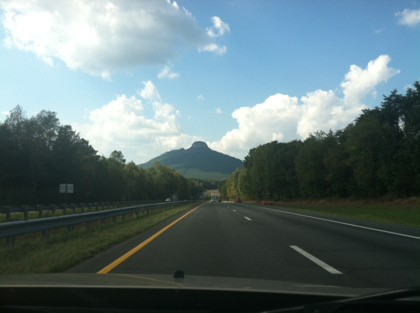 A view of Pilot Mountain on our way into Mt. Airy.