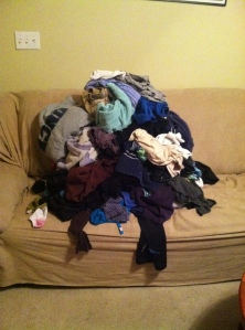 Clean unfolded laundry for days.
